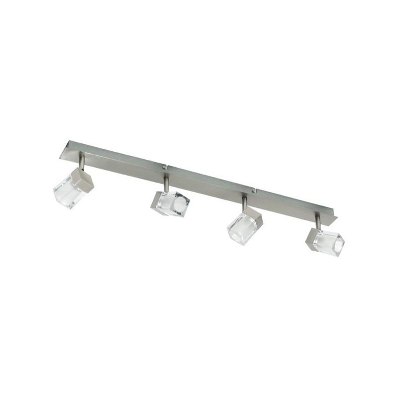 Spot 4 lampen op balk geborsteld metaal glas (2605.023)