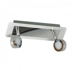 LED plafondspot 2 lampen geborsteld chroom metaal glas (3000.069)