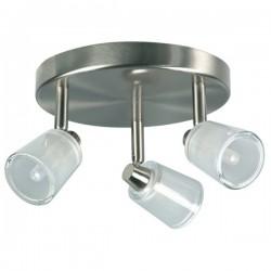 Spot 3 lampen op plaat geborsteld metaal glas (2607.003)