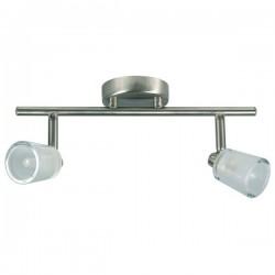 Spot 2 lampen op balk geborsteld metaal glas (2607.002)