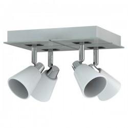 Spot 4 lampen Miro chroom wit metaal glas (6000.469)