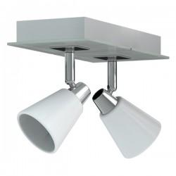 Spot 2 lampen Miro chroom wit metaal glas (6000.468)