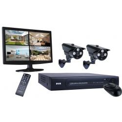 "4-kanaals digi. opname 500GB HD, 2 cams 15,4"" mon (DVR724S)"