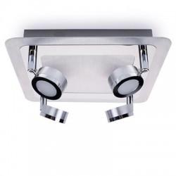 LED plafondspot 4 lampen geborsteld chroom metaal glas (3000.070)